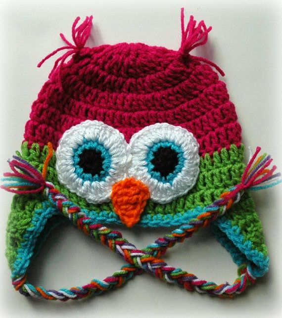Dark Pink And Bright Green Owl Hat by BabyBellaDonna on Etsy, $20.00
