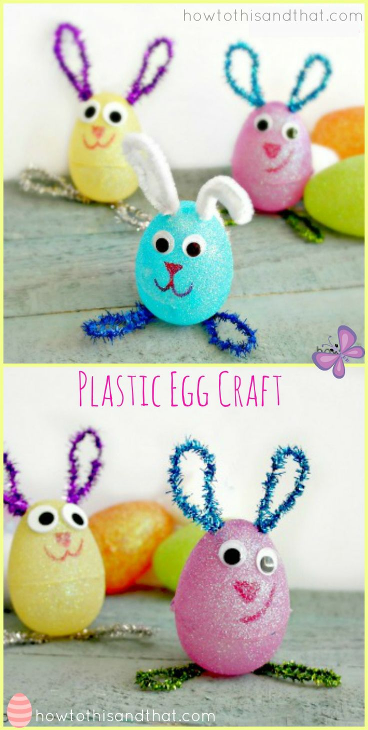 Easter crafts for seniors - Plastic Egg Easter Bunnies Craft Project