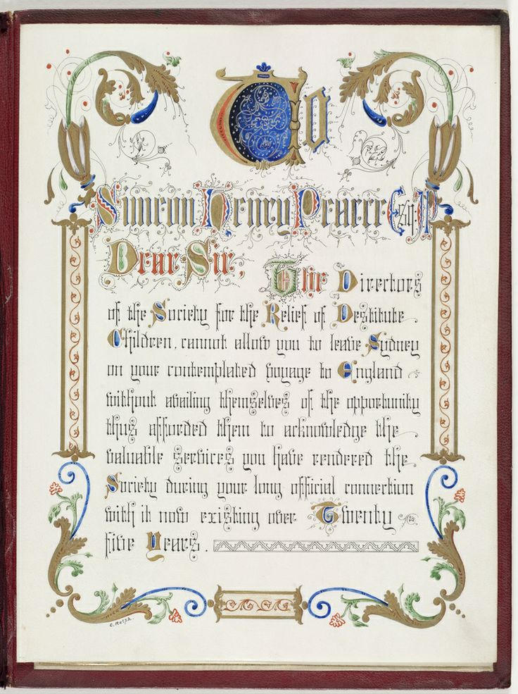 An illuminated address presented to Simeon Pearce in 1881 by the Director of the Society   for the Relief of Destitute Children before a voyage to England for years of service to this organization. From the Mitchell Library, State Library of New South Wales : http://www.acmssearch.sl.nsw.gov.au/search/itemDetailPaged.cgi?itemID=152592