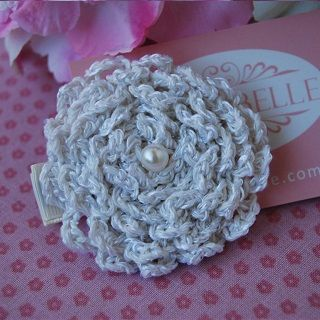 Crochet Hair Clip - $14.95 - Handmade vintage inspired accessories for little girls, this gorgeous crochet hair clip adds that finishing touch to your little ones outfit and hair style. #sweetcreations #baby #kids #girls #hair #accessories #asterbelle #headband #accessorise