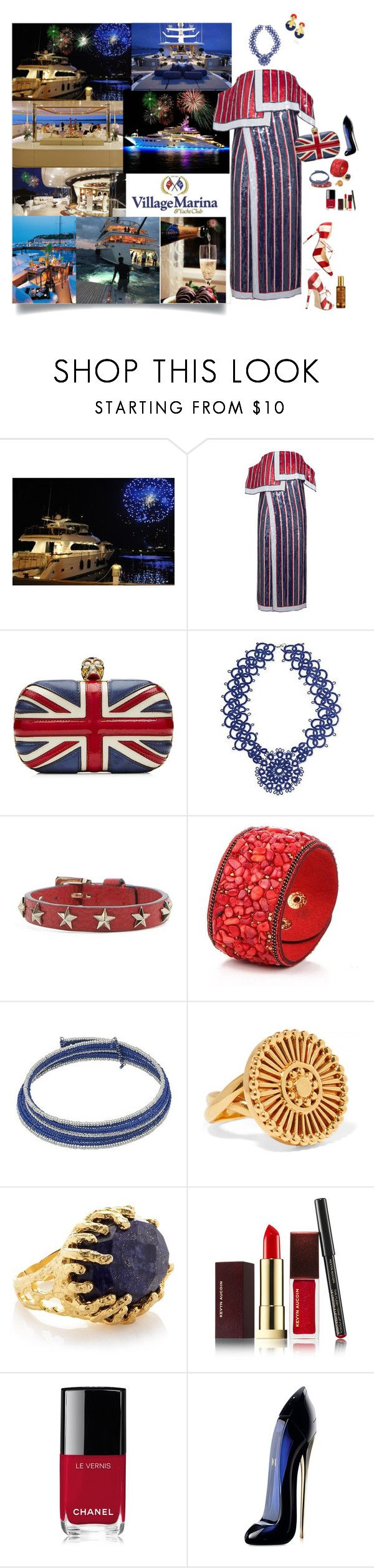 """""""Red White and Blue"""" by deborah-518 ❤ liked on Polyvore featuring Monse, Dolce&Gabbana, Alexander McQueen, NOVICA, RED Valentino, Chloé, Ottoman Hands, Kevyn Aucoin, Chanel and Carolina Herrera"""