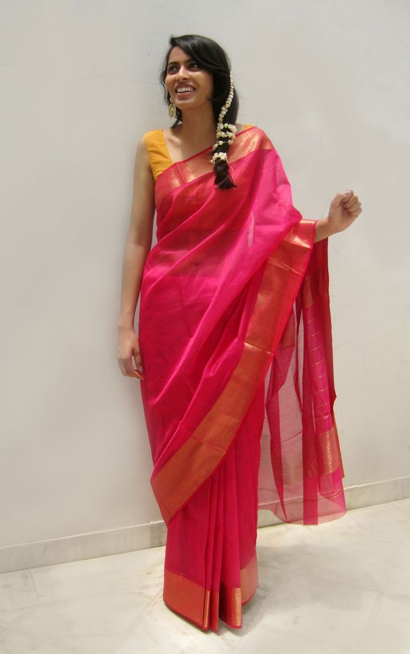 Fushia Pink Cotton-Silk Saree By Ecoloom #handwoven #Indian #outfit #sari