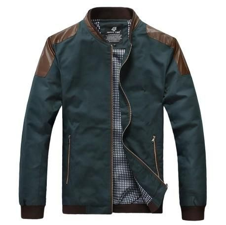 Men's Leather Patchwork Casual Jacket