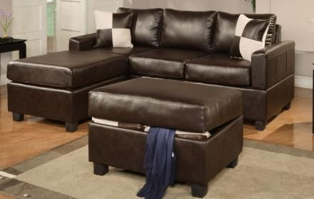 Espresso Bonded Leather Modern Small Sectional Sofa W Ottoman
