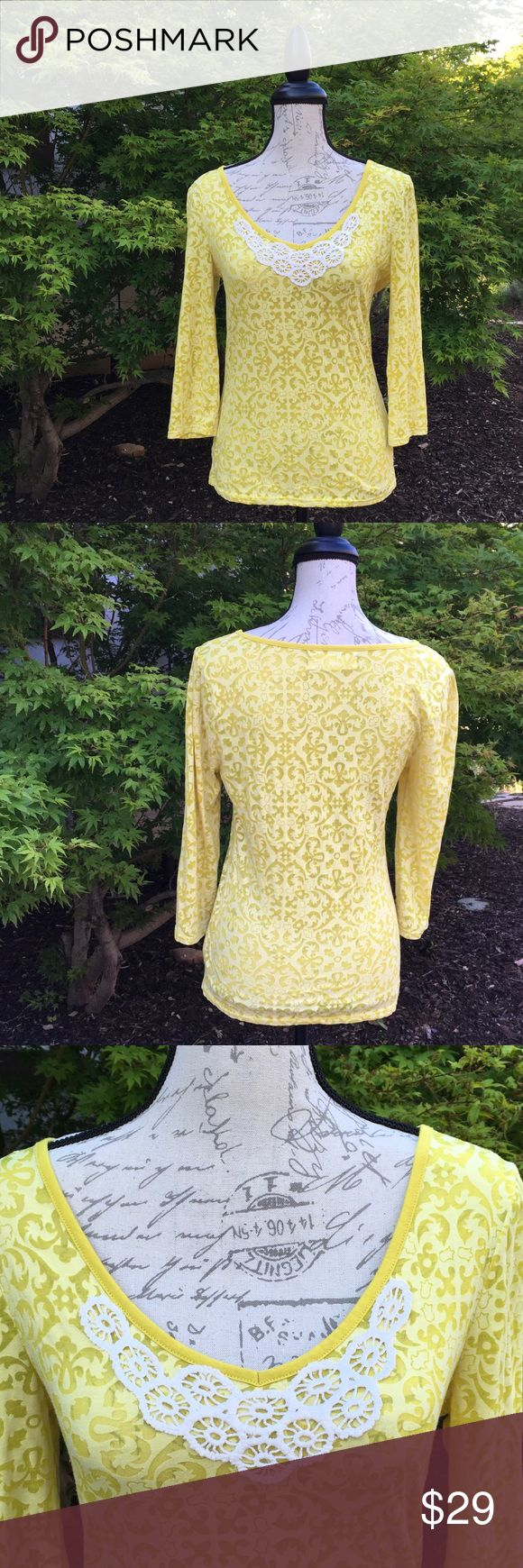 Beautifully accented Anthropologie top Lovely spring or summer top with deep V-neck and unique and beautiful sheer accents in the material. Beautiful yellow/chartreuse color. In excellent used condition without defects or flaws. Smoke free and (sadly) pet free home. Lilka Tops