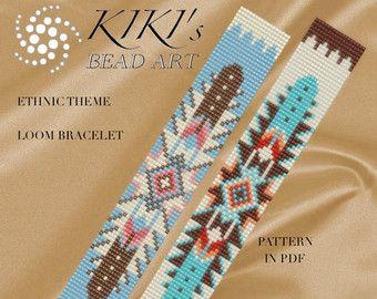 Bead loom pattern flower and petals LOOM bracelet par KikisBeadArts