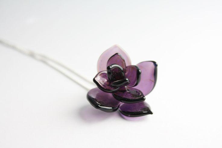 Lampwork rose pendant ----------------- GlassFlemming / Janita Simula