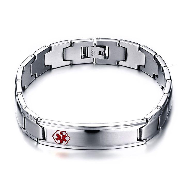2016 Special Offer Rushed Men's Medical Alert Id Bracelet & Bangle 316l Stainless Steel Wrist Medico Alerta Pulseiras Jewelry