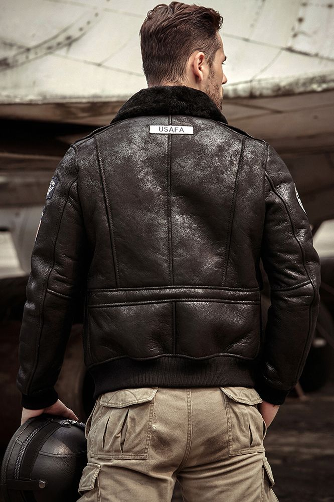 Denny Dora Mens Sheepskin Shearling Jacket Mens Shearling Jacket Black Leather Motorcycle Jacket Leather Jacket