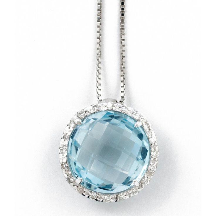 Girocollo pendente topazio e diamanti Ct.0,10 in oro 18Kt