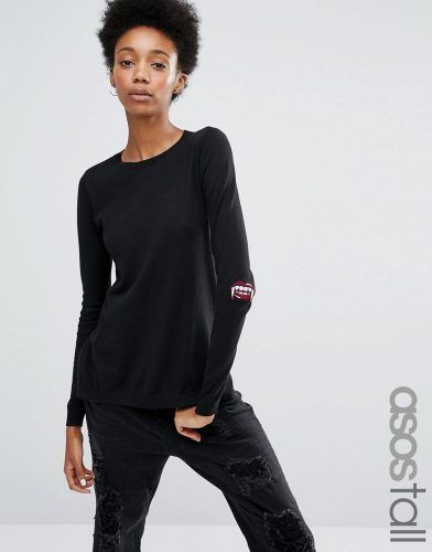 asos tall sweater with halloween fangs elbow patch black tall clothing and big shoes