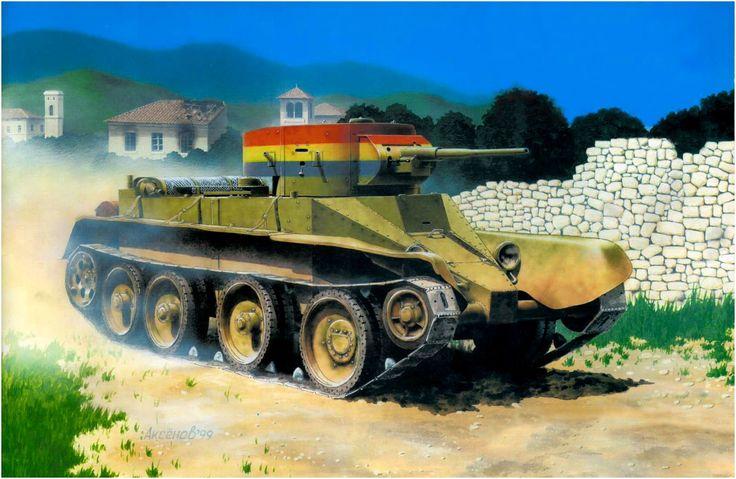 BT-5 de la 1ª Brigada Internacional Independiente de Tanques, del bando Republicano; durante la campaña del Ebro, a fines de 1937. Guerra Civil española. Iba artillado con un cañon de 45mm y una ametralladora coaxial DT de 7,62mm