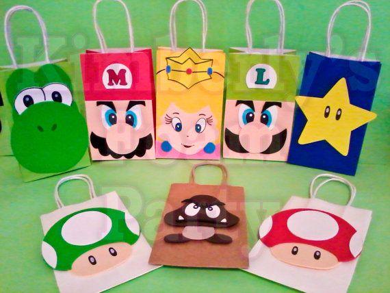 8 bolsos de fiesta de Mario Bros y amigos por kimberlysfoamparty