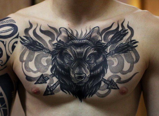 wolf with arrows by Ksu  #tattoo #tattoed #inked #south_coasttattoo #russia #grey #wolf #arrows