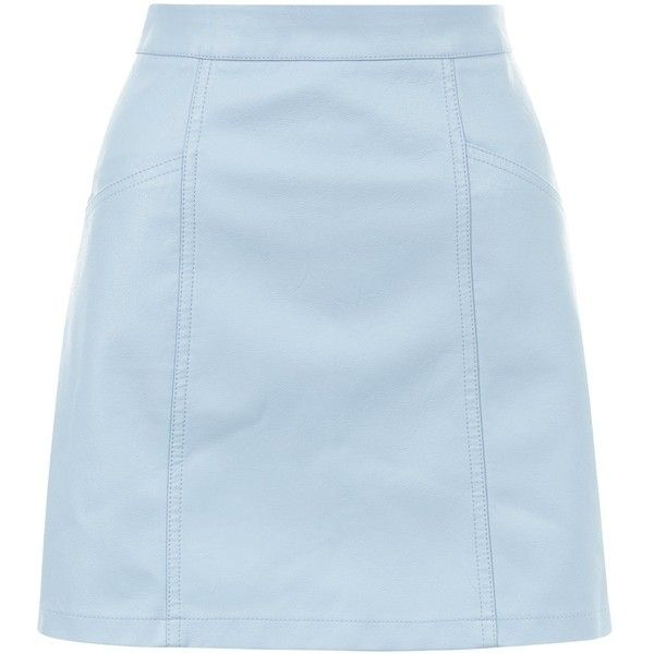 New Look  Pale Blue Leather-Look Seam Trim Mini Skirt , On days out wear this pale blue leather-look mini skirt with a white tee and plimsolls.- Leather-look f…