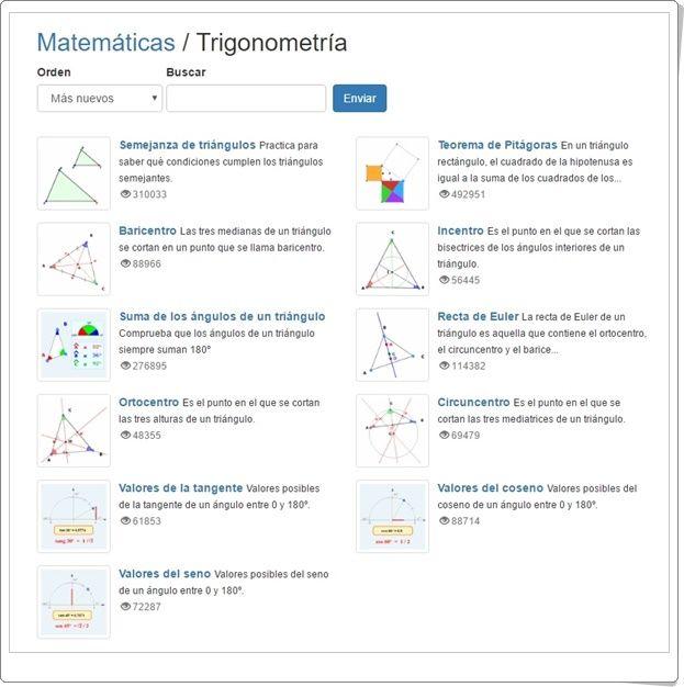 """Actividades sobre conceptos de """"Trigonometría"""", de Educaplus.org, de forma gráfica e interactiva."""