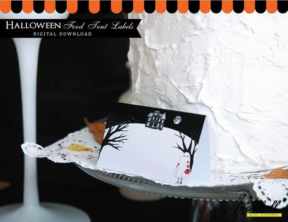 ♥ ♥ ♥ DIY PARTY PRINTABLES - HALLOWEEN FOOD TENT LABELS ♥ ♥ ♥  Please read all information below before purchase  ► This is an INSTANT DOWNLOAD digital product. No physical item will be sent.  ► This is a Non Personalized Item  ► You will get 1 PDF (4 designs in 1 page) of high resolution 300 DPI, Letter page size (8,5 x 11). No watermark on the purchase files.  ► Measurement: 3,5 x 2,1 (folded)  ► Material you will need: ☺ Letter size paper ☺ Printer ☺ Scissors ☺ Tape/Glue ☺ Adobe Acrob...