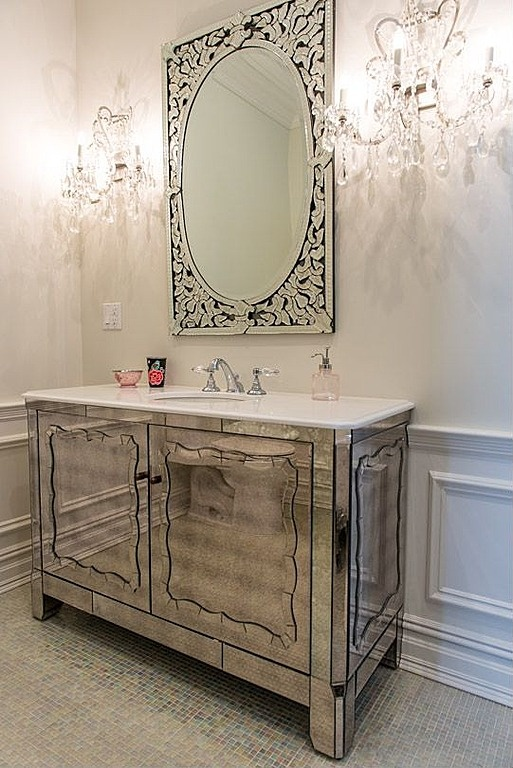A Venetian Mirror And Mirrored Vanity Bring Sparkle To This Bathroom Designed By Vanessa DeLeon Associates