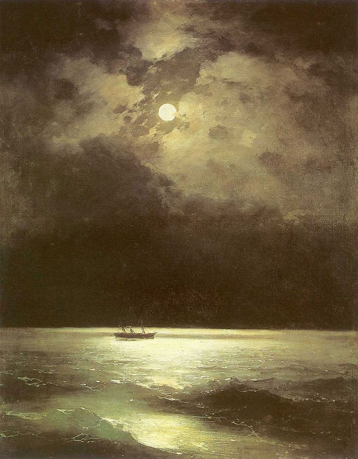 Ivan Konstantinovich Aivazovsky. The Black Sea at Night, Original Size: 100 x 76 cm, Date: 1870. Buy this painting as premium quality canvas art print from Modarty Art Gallery. #art, #canvas, #design, #painting, #print, #poster, #decoration