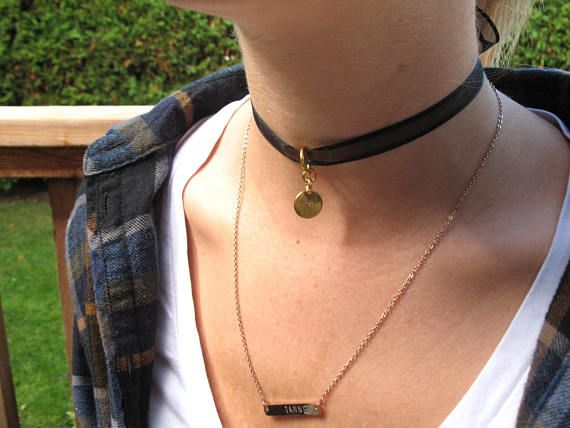 Choker Necklace in Black Ribbon with Gold Tierra Cast Initial