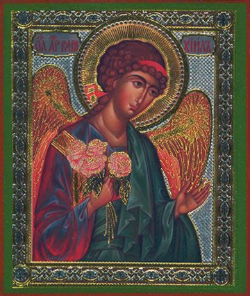 """Archangel Barachiel """"Blessing of God"""" Russian Silk Orthodox Icon » Mounted Orthodox Icons of Angels » ArchangelsBooks.com"""