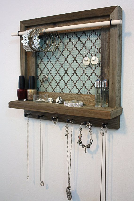 Hey, I found this really awesome Etsy listing at https://www.etsy.com/listing/192776620/jewelry-organizer-shelf-rustic-barnwood