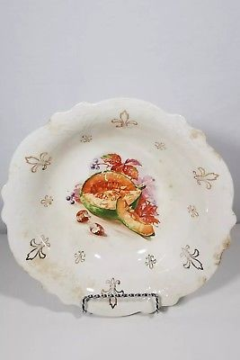 10in Vintage Royal firenze china bowl Fruit Melon and Cocanut decor