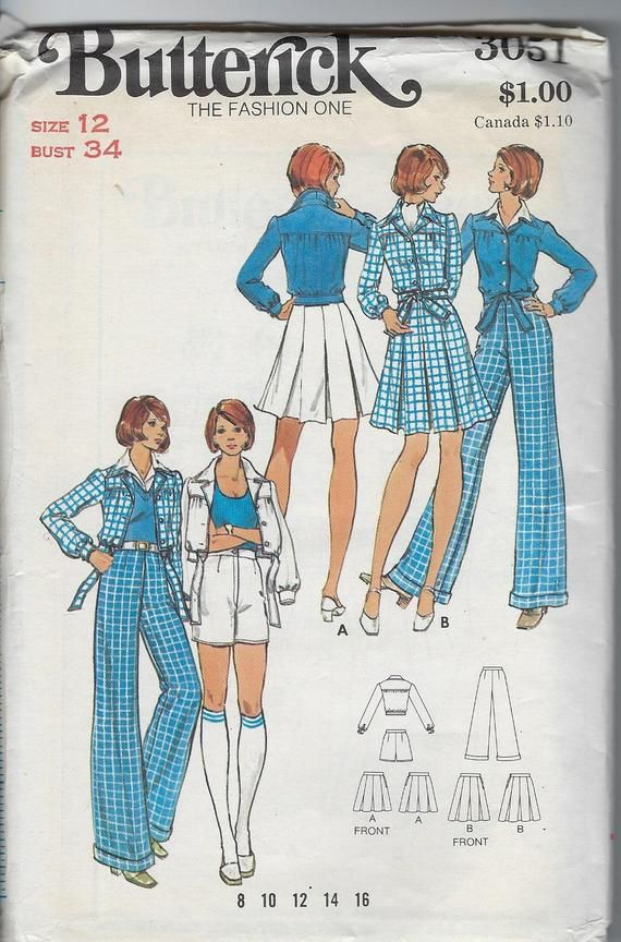 70s Butterick Women Sewing Pattern Misses Jacket With Tie At Waist Box Pleated Skirt Shorts Jacket Pattern Sewing Trendy Sewing Patterns Womens Sewing Patterns