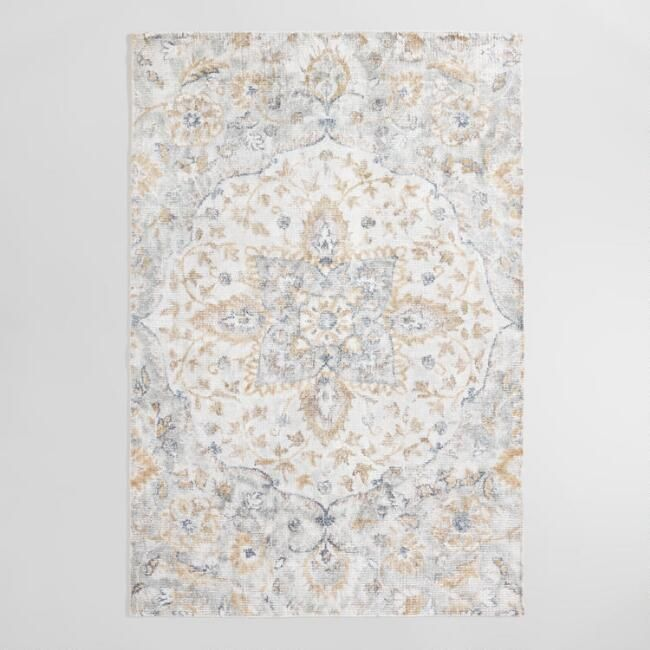 Gray And Golden Yellow Medallion Ventana Area Rug Area Rugs