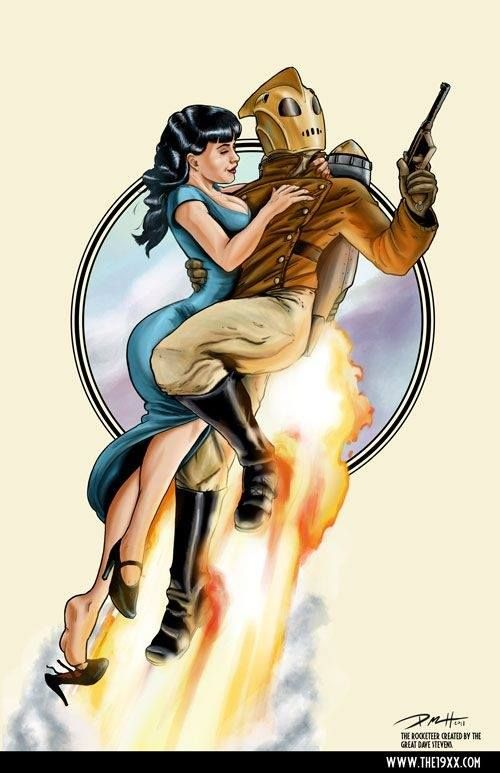 Dave Stevens, Creator of the Rocketeer, and Master of Illustration. This piece by Paul Roman Martinez... Courtesy of Angela Kam, on Facebook. (1.5.2013)
