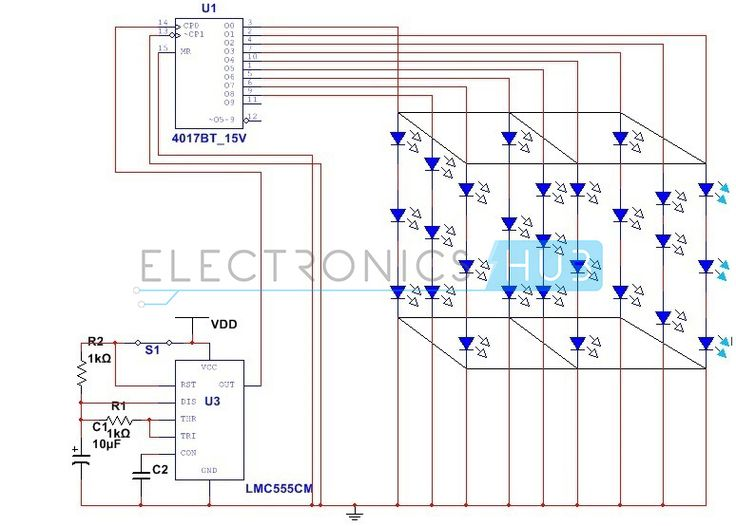 3X3X3 LED Cube Circuit without using Microcontroller Circuit - ics organizational chart