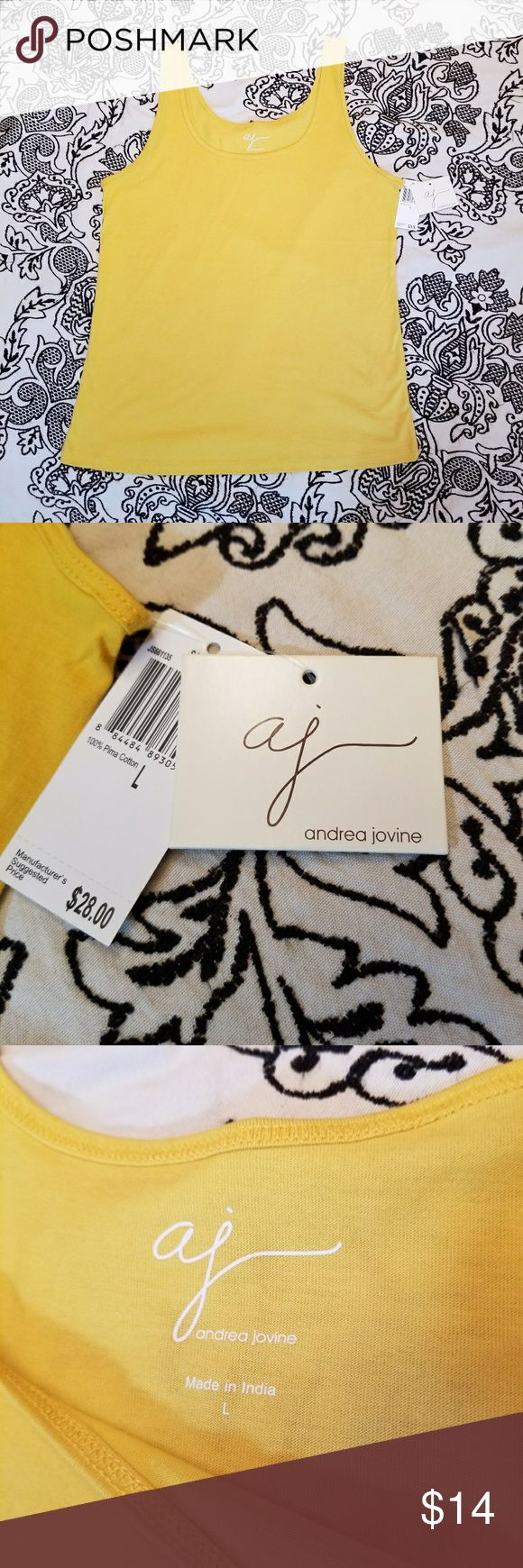 Women's large Andrea Jovine yellow tank top Women's large Andrea Jovine yellow tank top. 100 percent Pima cotton. Item is new with tags. Yellow tank top cami, great for layering. Andrea Jovine Tops Tank Tops
