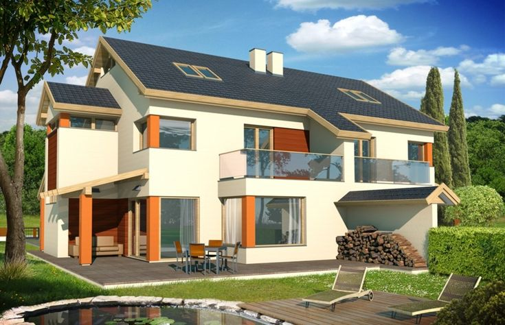 Wygodny dom dla rodziny 3-6 - osobowej, o nowoczesnej bryle budynku.
