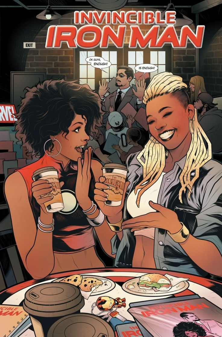 """Ariell Johnson is the only Black woman currently running a comic book store on the East Coast. She owns Amalgam Comics & Coffeehouse in Philadelphia, and now she will appear on a variant cover of """"Invincible Iron Man #1."""" Johnson is posed next to Marvel superhero RiRi Williams.  The cover is made possible by Johnson's colleague Randy Green."""