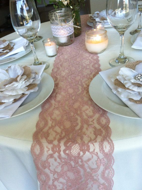 lace table runner dusty rose 55in wide x 78 in long