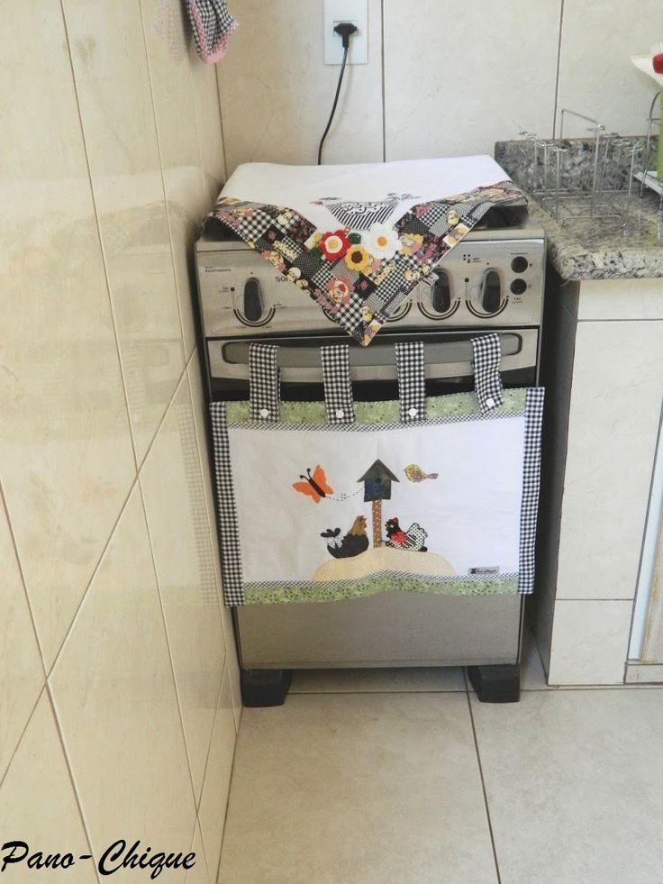 Conjunto cobre forno e cobre fogão – Galinha xadrez | Pano-Chique