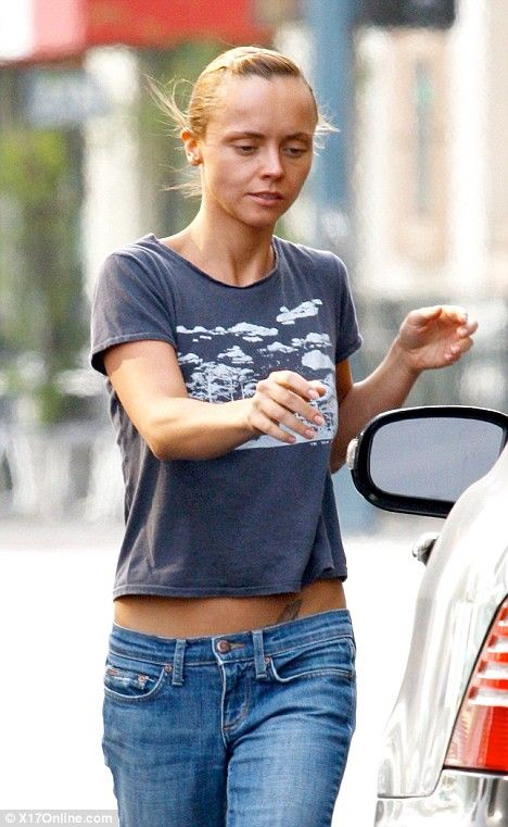 Christina Ricci's tan fails to cover her increasingly thin frame