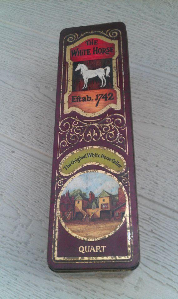 Vintage The White Horse Whisky tin scottish by VintageGemsMaine