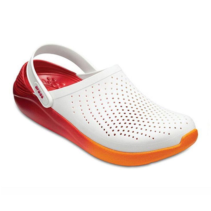CROCS summer couple orange female sandals new unisex outdoor sandals men soft bo…