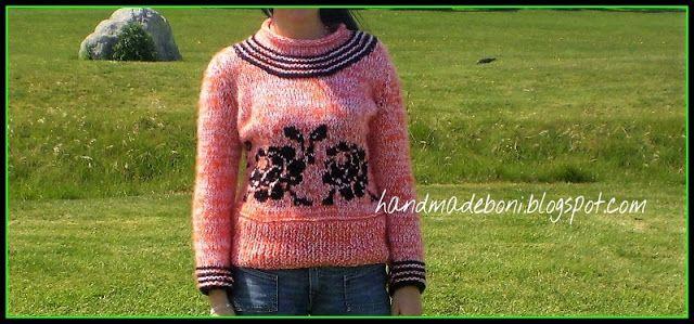 HandmadeBoni: Melanżowy sweter z różami .