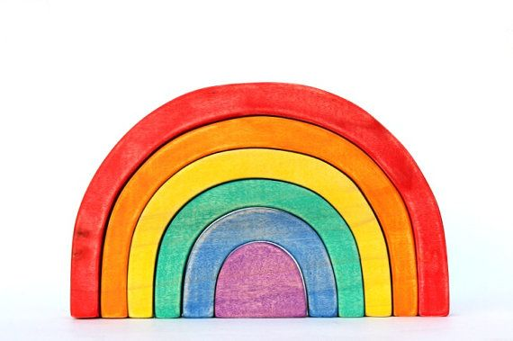 wooden rainbow stacking toy, waldorf toy, wooden puzzle toy, rainbow stacker