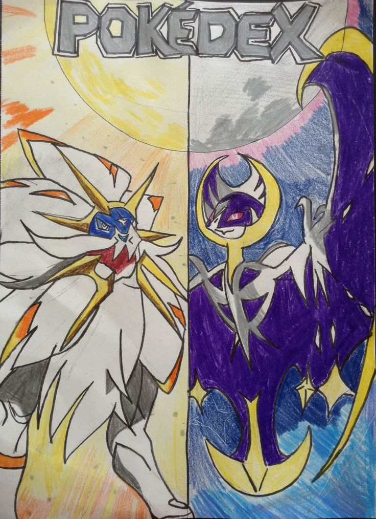 Drawing by me with the two legendary Pokemon Solgaleo and Lunala.