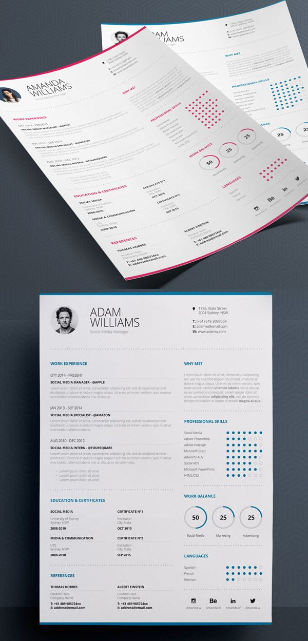 Clean Resume 7 Word u0026 Indesign