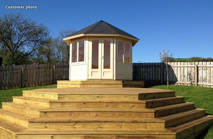 Need some inspirational decking ideas for the garden? How about the Clyde timber summer house atop a podium of decking? This photo, sent in by a GardenLife customer, is really unique, and it shows how decking and the incline of the garden can be used to create a stunning focal point. I just want to know what the views from the summer house itself look like!