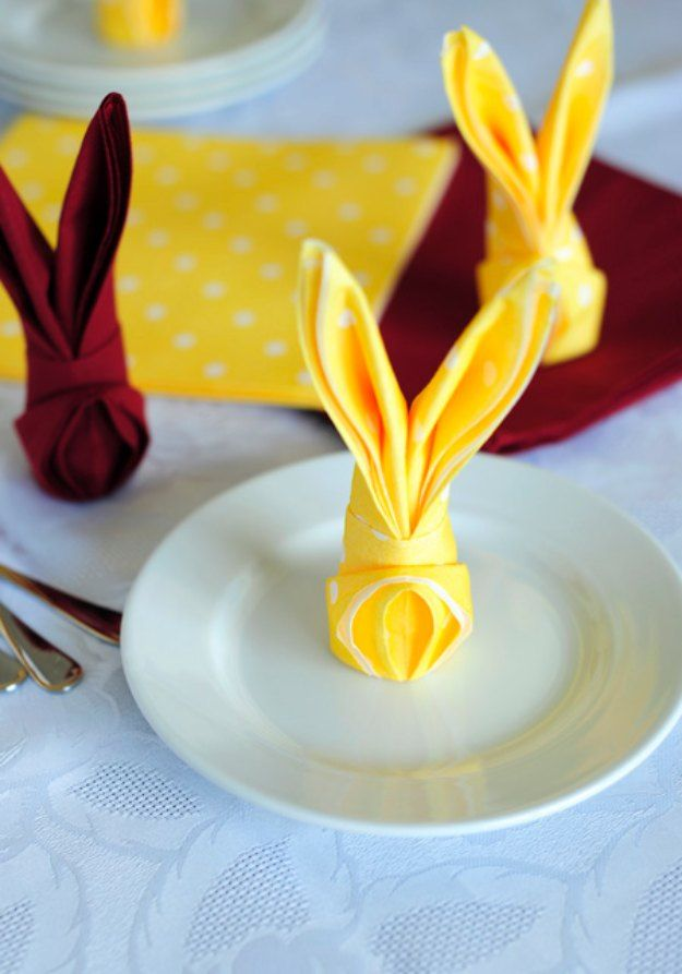 DIY Easter Decorations - Decor Ideas for the Home and Table -  How to Fold a Napkin Into a Bunny  - Cute Easter Wreaths, Cheap and Easy Dollar Store Crafts for Kids. Vintage and Rustic Centerpieces and Mantel Decorations. http://diyjoy.com/diy-easter-decorations