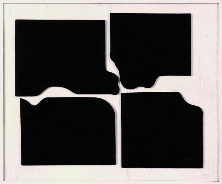 Władysław Strzemiński, Le brisement d'un rectangle noir, 1923 - Un rectangle déchiré en quatre parts inégales inaugure le processus de l'atomisation de la matière picturale d'un tableau allant vers la mise en évidence de sa microstructure. Il voulait créer des tableaux autonomes, rejetant non seulement toute relation avec la réalité extérieure mais aussi l'opposition fond/forme, la composition, la tension dynamique.