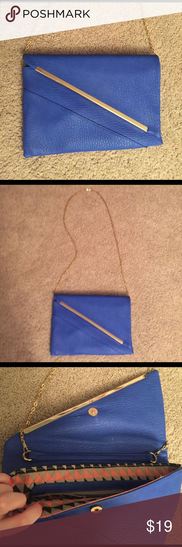 Royal blue cross body Only used a handful of times, gold chain, second to last picture has my wallet (NOT for sale) just to show how big clutch is Bags Crossbody Bags