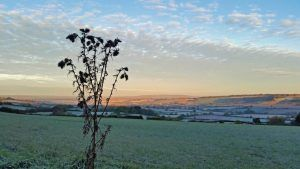 Cotswold Walks: a frost morning looking over Long Compton in the Cotswolds
