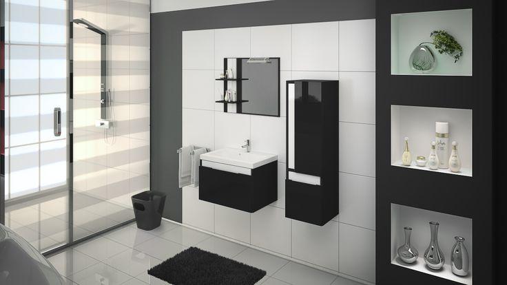 Kontrast bieli i połyskliwej czerni to propozycja klasyczna, wprowadza harmonię.