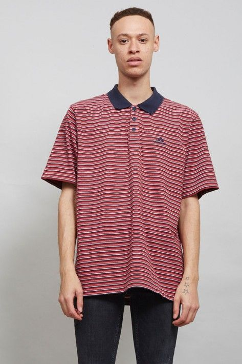 Stripped Adidas 90's burgundy vintage polo t-shirt